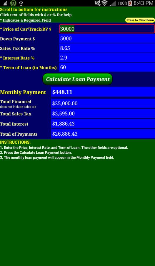 Car Loan Payment Calc Pro App