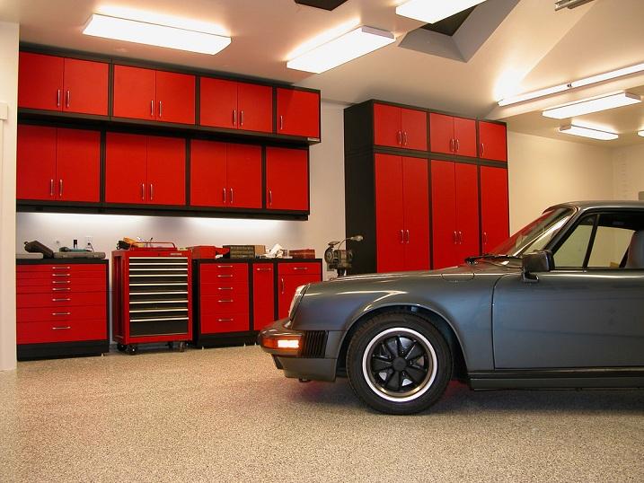 garage lighting storage and flooring